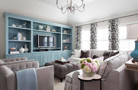 Tiffany Blue Built In Shelves And Cabinets
