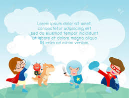 Superhero Kids At Playground Playing Outside Template For Advertising Brochureyour
