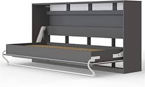 smartbett standard 90x200 horizontal anthrazit schrankbett ausklappbares wandbett ideal geeignet als wandklappbett fürs gästezimmer büro