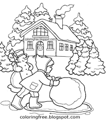 Kids Craft Activities Frozen School House Playing Games Winter Snowman Giant Snowball Coloring Pages