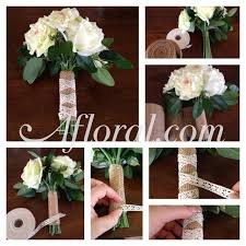 To Make This Rustic Bouquet Wrap Start With A Pre Made Next Stems Burlap Ribbon Then Criss Cross Crochet Lace And Fasten
