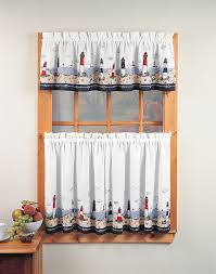 WHITE Kitchen Curtains Walmart With Nautical Pattern For Lovely Decoration Ideas