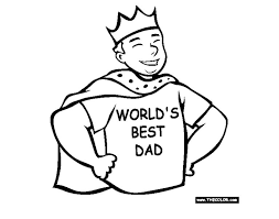 Fathers Day Coloring Pages At TheColor A Dad Wearing Cape Crown And Shirt That Says Worlds Best