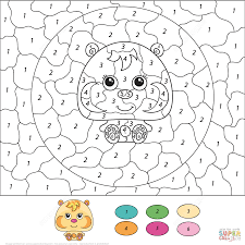 Cute Hamster Color By Number And Coloring Pages