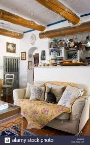 Country Style Living Room by French Country Style Kitchen Living Room With Beamed Ceiling