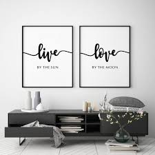 live by the sun by the moon bedroom wall poster set