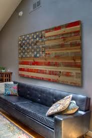 Rustic American Flag Decor Maybe For A Basement Or Lake House