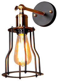 Rustic Style Wall Sconce With Iron Cage Matte Black Industrial Sconces