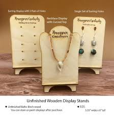 6 Customized Wood Earring Or Necklace Displays