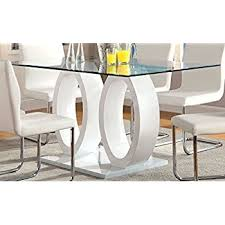 Where To Buy Dining Room Tables by Amazon Com Furniture Of America Quezon Glass Top Double Pedestal