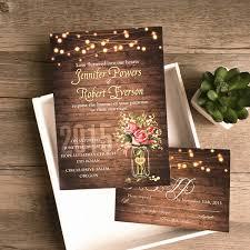 Flower Mason Jar String Lights Rustic Invitations IWI348