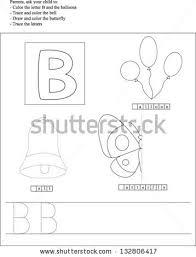 Bеѕt оf Trace Color Letter B Worksheet Preschoolers Stock Vector