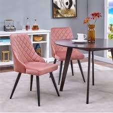 2er set esszimmerstuhl polsterstuhl rosa pink stoff samt