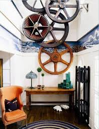 Industrial Decor Entry With Living Room Wall Art Wheel