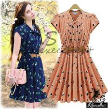 Free Shipping High Quality Summer Dress Women Clothing Chiffon Ladies Office Casual Vintage Dresses