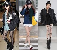 Street Fashion Is A Huge Trend In Korea Now While South Korean Ladies Still Love Their Pretty Frocks And High Heels The Edgy Look Becoming Hit Among