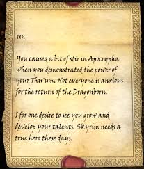 Skyrim talk Letter from a Friend The Unofficial Elder Scrolls