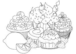 Cupcake Coloring Page Embroidery Pattern Pages Kawaii Colouring