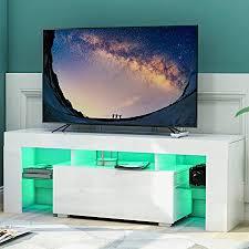 leisure zone weiß tv ständer modernes tv schrank in weiß matt und hochglanz tv regal fernsehtisch fernsehschrank für wohnzimmer mit led lichtern