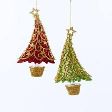 Potted Christmas Tree by Buy Club Pack Of 12 Red And Green Potted Christmas Tree With Gold