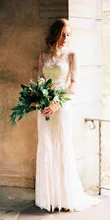 Sheath Lace High Neckline Rustic Wedding Dresses With Short Sleeves Perry Vaile