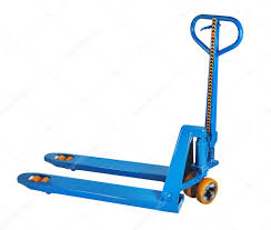 100 Hydraulic Hand Truck Blue Fork Hand Pallet Truck Isolated On White Background Stock