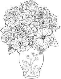 Free Printable Flower Coloring Pages For Kids With Bouquet Of Flowers