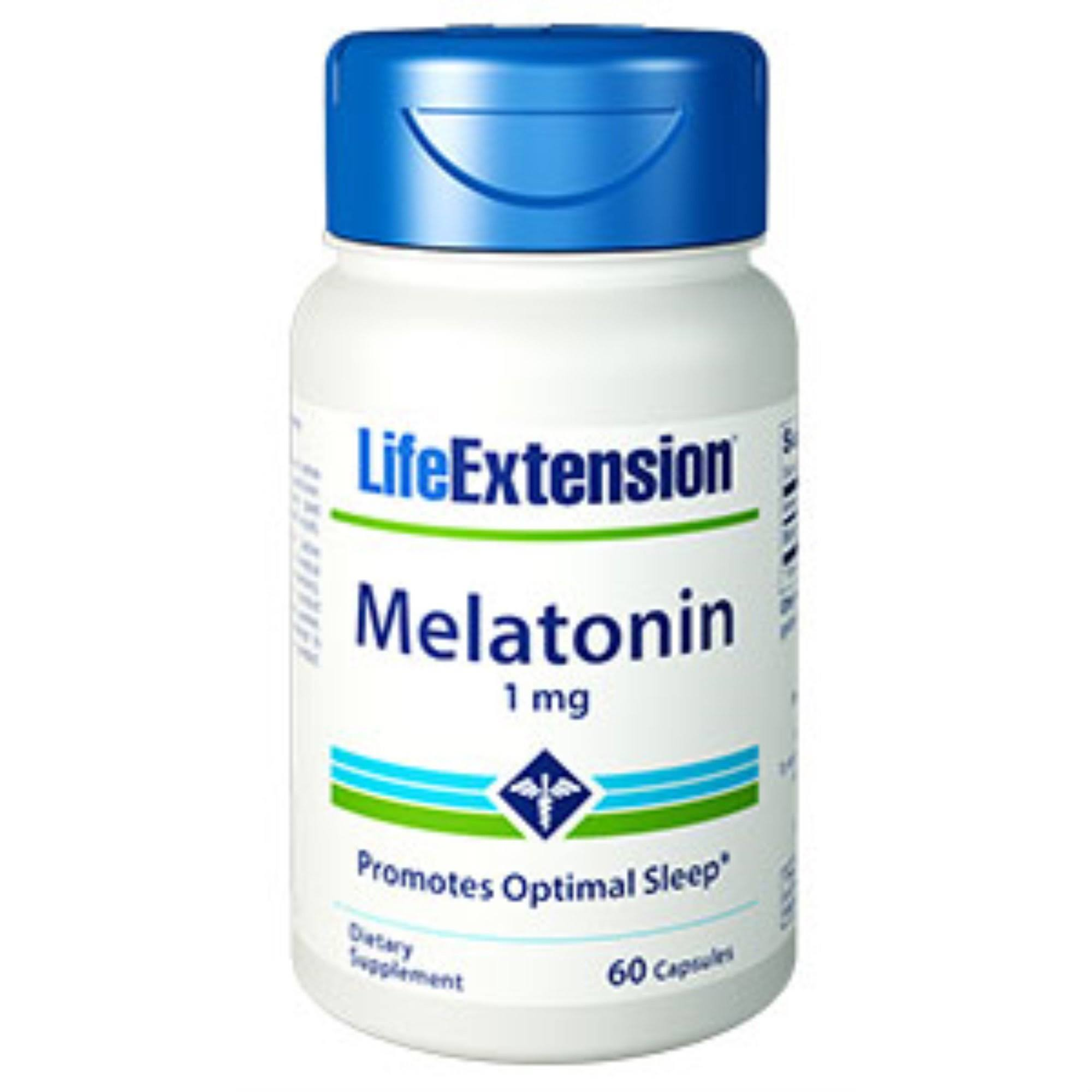 Life Extension Melatonin Supplement - 1mg, 60 capsules