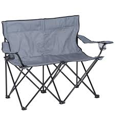 Outsunny Folding Double Fishing Chair Outdoor Picnic Twin Seat Garden Patio  Sports Furniture - Grey