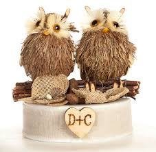Rustic Owl Cake Topper Brown Burlap Flowers Wedding Collectibles