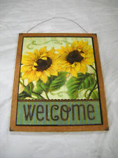 Sunflower Welcome Country Kitchen Wooden Wall Art Sign Wood Decor Fall Autumn