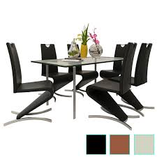 Set Of 2 Modern Dining Chairs Cantilever Chair W/H-shaped Foot  Black/Brown/White