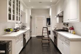Galley Kitchen With Island Bench