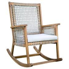Amazon.com : Urban Rustic Wood & Rope Outdoor Patio Rocking Chair ...
