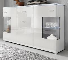 sideboard charme in weiß hochglanz mit led beleuchtung als wohnzimmer kommode und esszimmer anrichte 150 x 91 cm