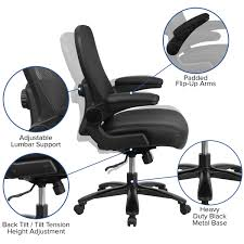 500 Lb. Big & Tall Black Mesh/LeatherSoft Ergonomic Office Chair With Lumbar