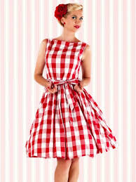 Red And White Plaid Audrey Hepburn Vintage Dress 50s Sleeveless Cotton Party Swing Inspired With Belt