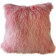 Mongolian Sheepskin Frosted Pink Throw Pillow Pillow Decor