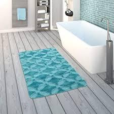 paco home badematte kurzflor teppich für badezimmer mit kreis muster einfarbig in türkis grösse 40x55 cm
