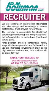 100 Truck Driver Recruiter Dm Bowman Inc Williamsport MD