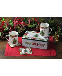 Spode Christmas Tree Mug And Coaster Set by Spode Christmas Tree Annual 5 Piece Tin Gift Set Serveware