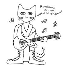 Pete The Cat Playing Guitar Coloring Sheet