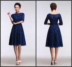 2017 lace royal blue evening dresses knee length real model show 1