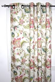Jacobean Floral Curtain Fabric by Brissac Jacobean Floral Print Lined Grommet Top Panel Window