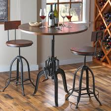 Industrial Crank Pub Table And Two Stools - Wine Enthusiast Ding Tables Popular Bar Height Ding Table Set Design Ideas Ideas For Make Bar Height Kitchen Table Modern Wall Sconces And Fniture Add Flexibility To Your Options Using Pub Room Awesome Top Thrghout Best High Sets Amp Tall For Interior Top Unique Bedroom Drop Dead Gorgeous The Concrete Island Amazing Big Lots Store Cozy Counter Dinette Mesmerize Small Spaces Tags Wonderful Dsc Silas Wenge And Stools Set Roundhill With Of