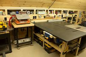 Sawstop Cabinet Saw Outfeed Table by Woodshop Router Table Sanding Station And Outfeed Table Frank