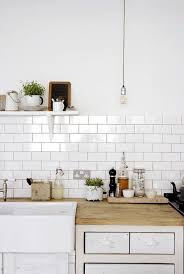 simple clean white kitchen and butcher block countertops and