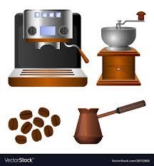 Coffee Machine Old Grinder And Metal Turk Set Vector Image