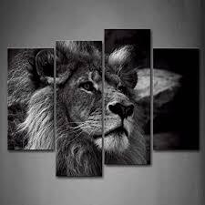 wall löwe bilder leinwand 4 teilig bild schwarz weiß tier wandbilder wohnzimmer moderne für schlafzimmer dekoration wohnung home deko