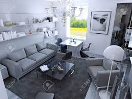 Contemporary Living Room In Daylight With Dining Table Gothic Style Light Grey